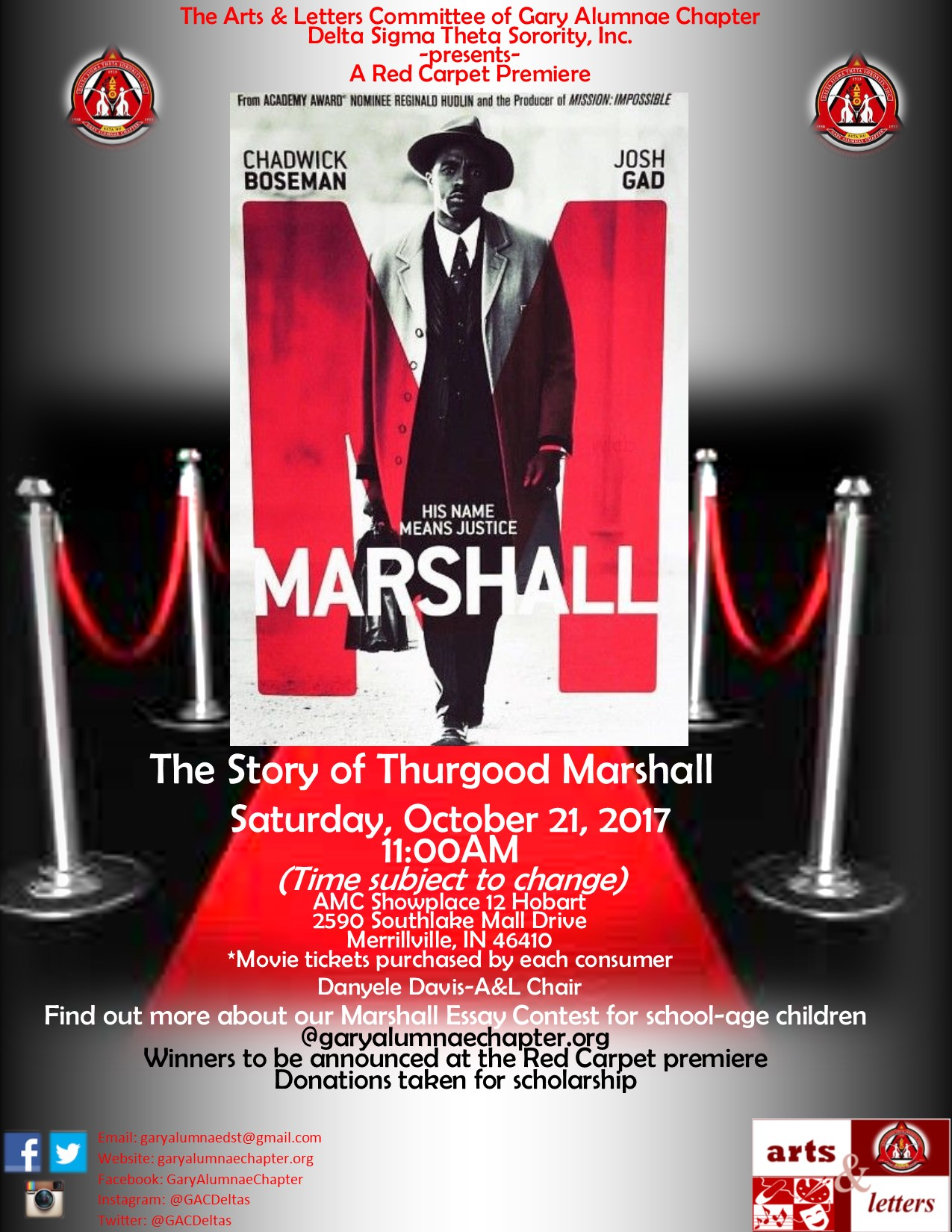marshall delta sigma thetadelta sigma theta please join the arts and letters committee for our first red carpet movie premiere of marshall the story of thurgood marshall on saturday oct 21