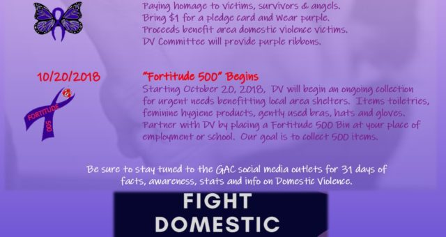 GAC Domestic Violence Announces DV events for October 2018