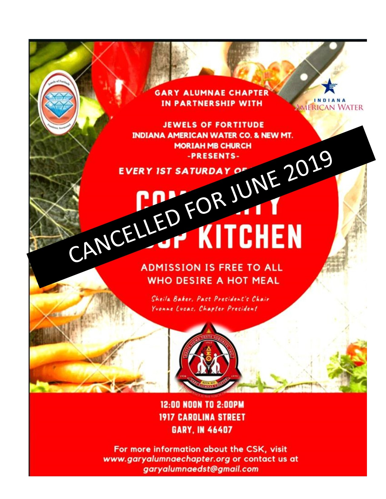 GAC Soup Kitchen Cancelled for June 2019