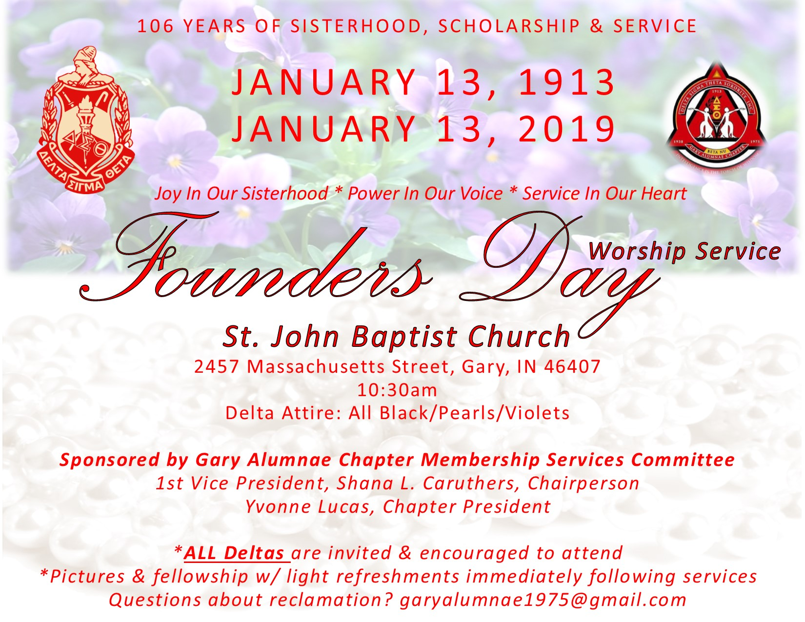 DELTAS FOUNDERS DAY WORSHIP EVENT