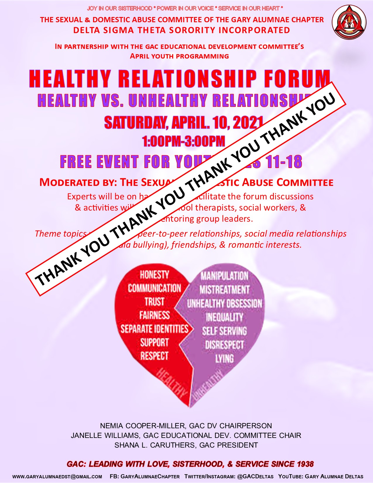 YOUTH HEALTHY RELATIONSHIP FORUM (Click on the Flyer to Register)