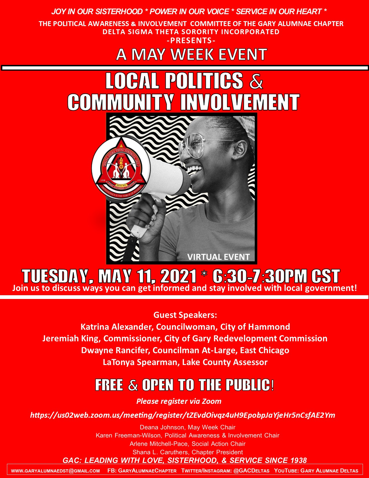 MAY WEEK- LOCAL POLITICS & COMMUNITY INVOLVEMENT (TUESDAY) CLICK THE FLYER